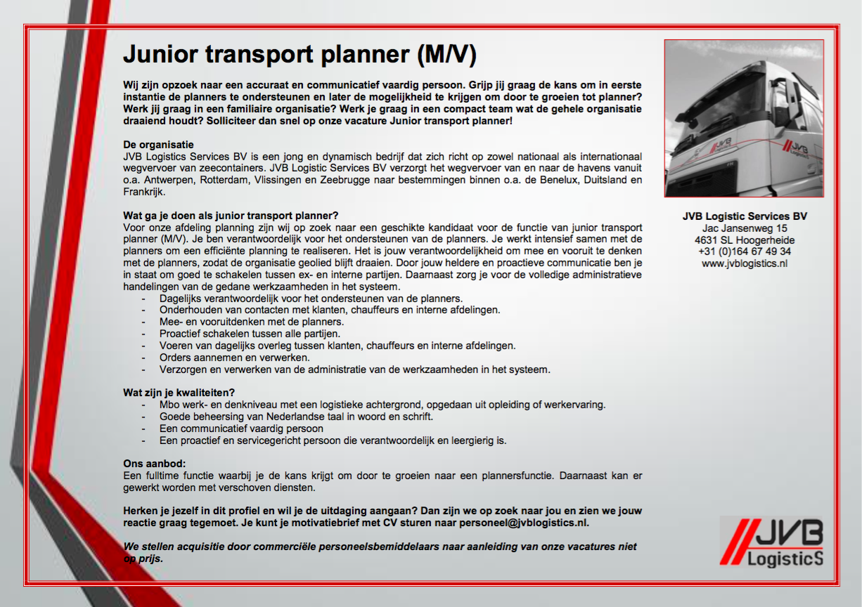 motivatiebrief planner Vacature: Junior Transport Planner   JVB Logistics motivatiebrief planner